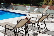 Pool is warm for swimming June-September with Solar Cover.