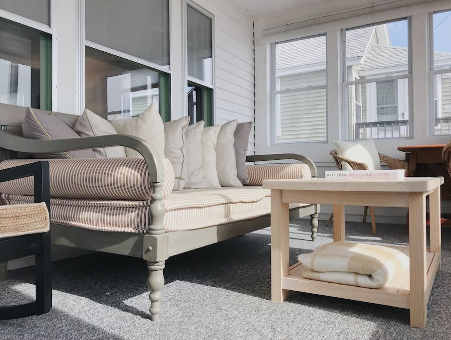 New for 2018: wooden daybed on the front porch, a peaceful napping experience.
