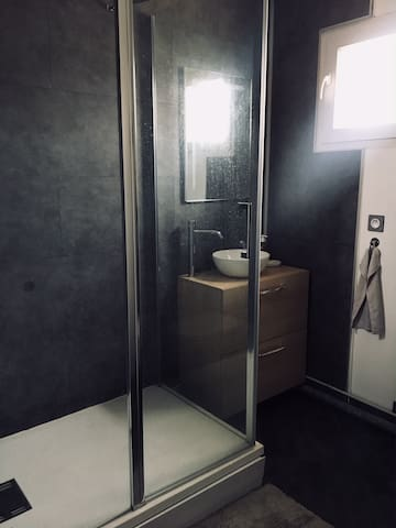 Salle de douche privée avec toilettes. Private bathroom with toilets.
