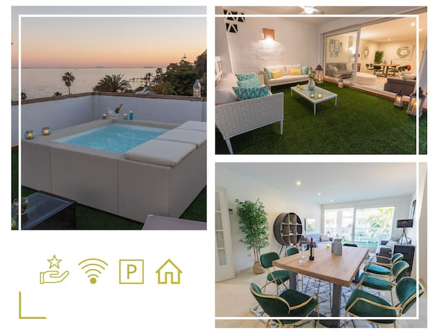 TOP LOCATED ATTIC DUPLEX: SEA VIEWS, BBQ & JACUZZI