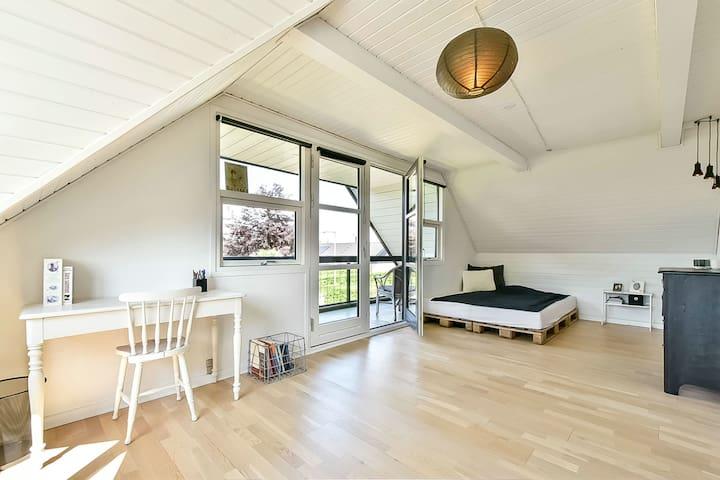Stort lyst værelse med veranda - Sunds - Huis