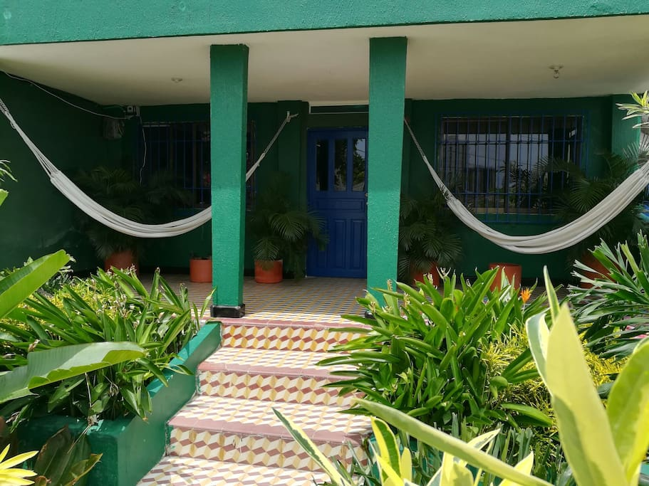 The entrance to Casita las Hamacas, with hammocks to rest any time