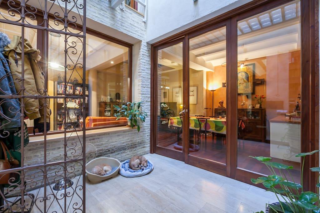 Las transparencias están presente en muchos espacios habitables como este de enlace patio con salón-comedor-cocina y escalera.