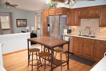 Kitchen and living area.