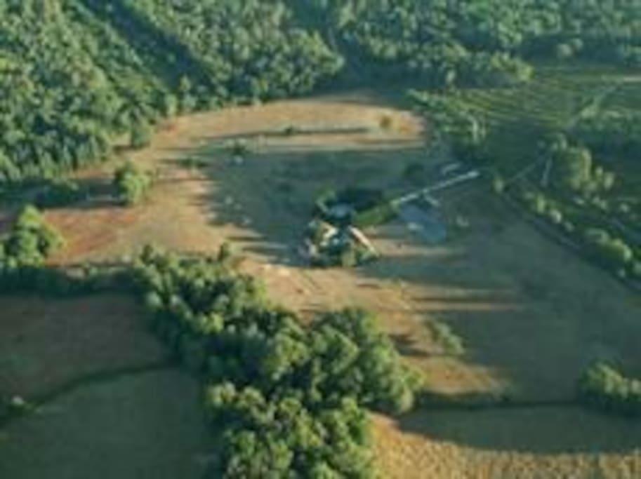 vue aérienne du gite