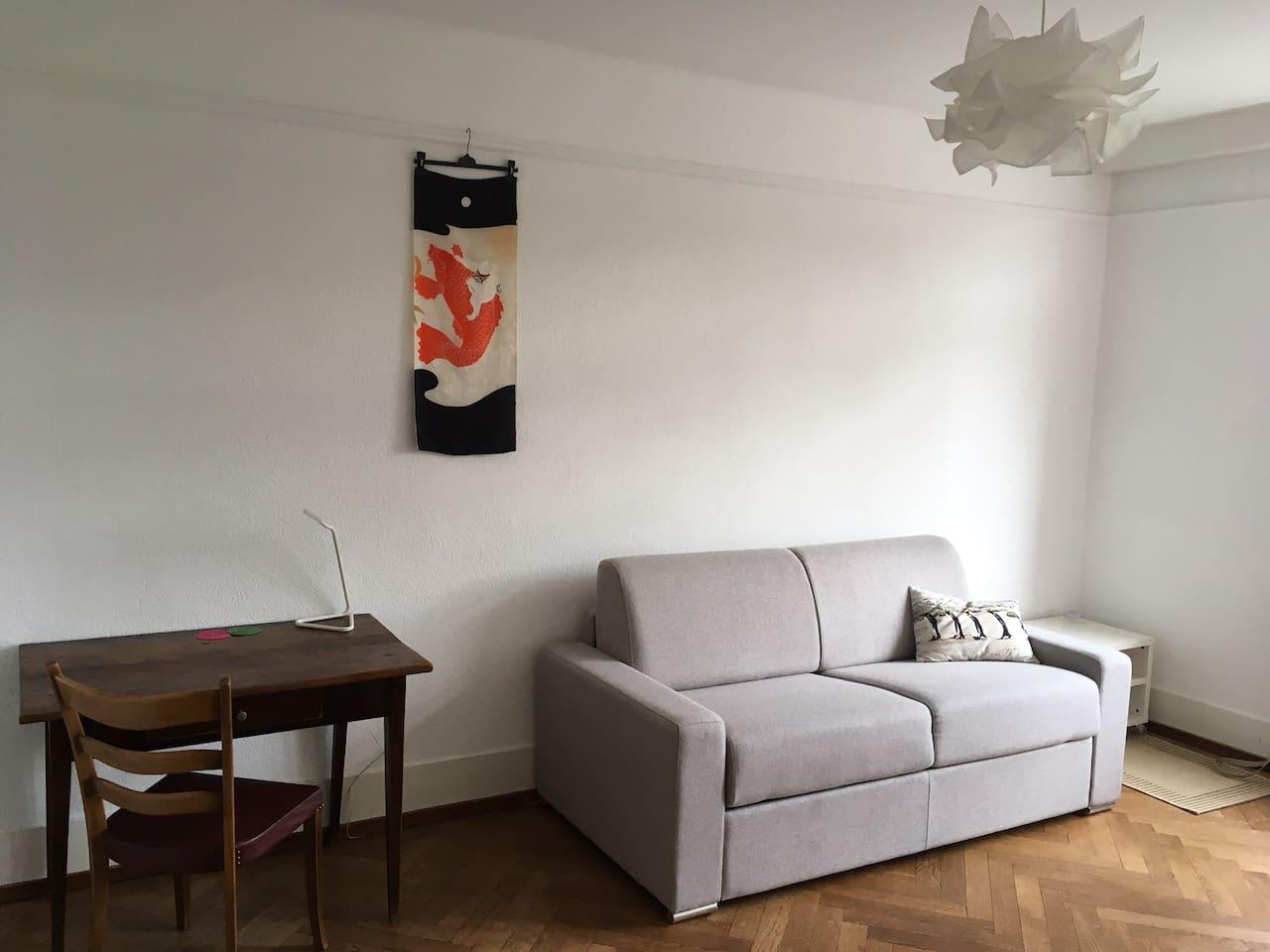 Grande chambre lumineuse, parquet bois, canapé-lit confort avec latte en bois et matelas 18 cm, table bureau et chaise.