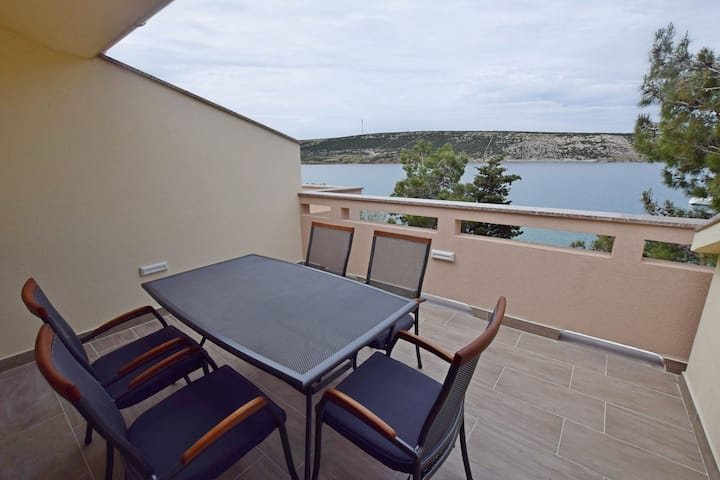 Two Bedroom Apartment, beachfront in Stara Novalja - island Pag, Terrace