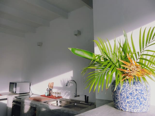 The open kitchen ,on the rooftop of the apartment