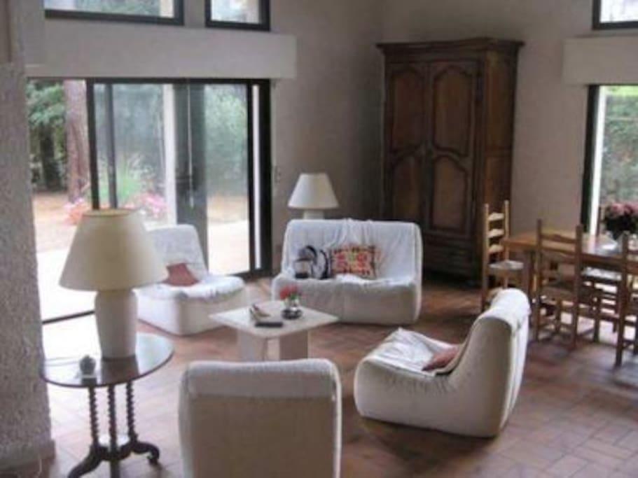 La grande pièce à vivre donnant sur le jardin avec sa grande table, son coin salon et a cheminée