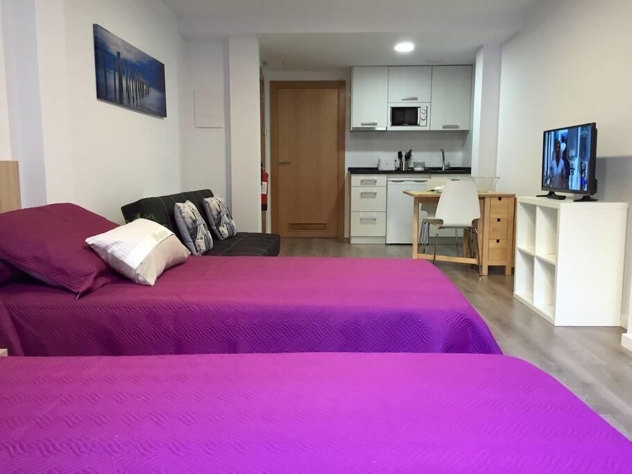 Estudio 2: 2/3 plazas( 2 camas y 1 sofá cama)