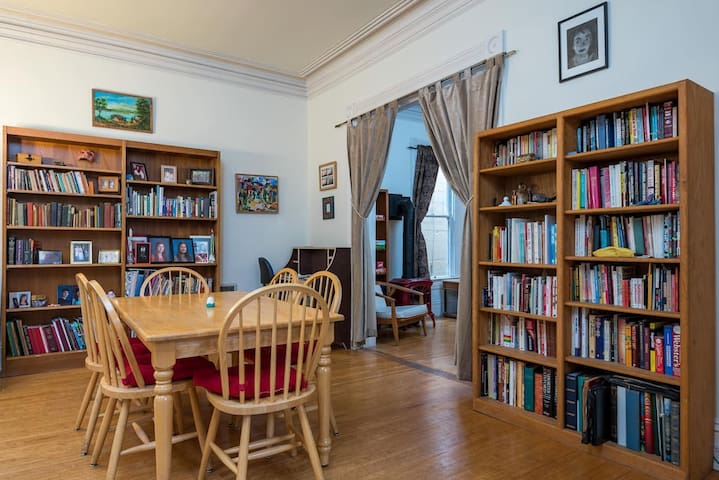 Lots of books in the dining room, too.