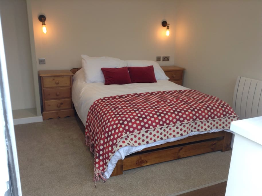 Double bedroom with bedside drawers,  hanging area and USB sockets by the bed