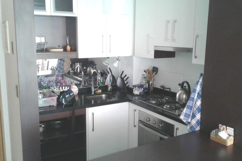 Cocina americana equipada con microondas, horno eléctrico y refrigerador.