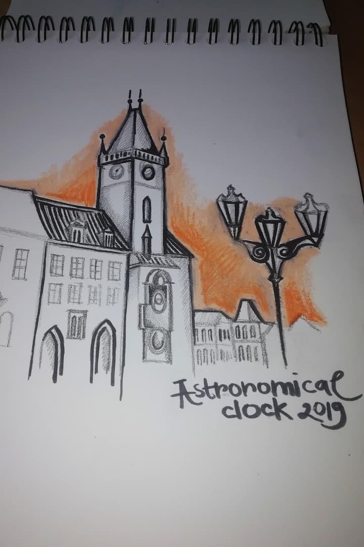 Astronomical clock drawing