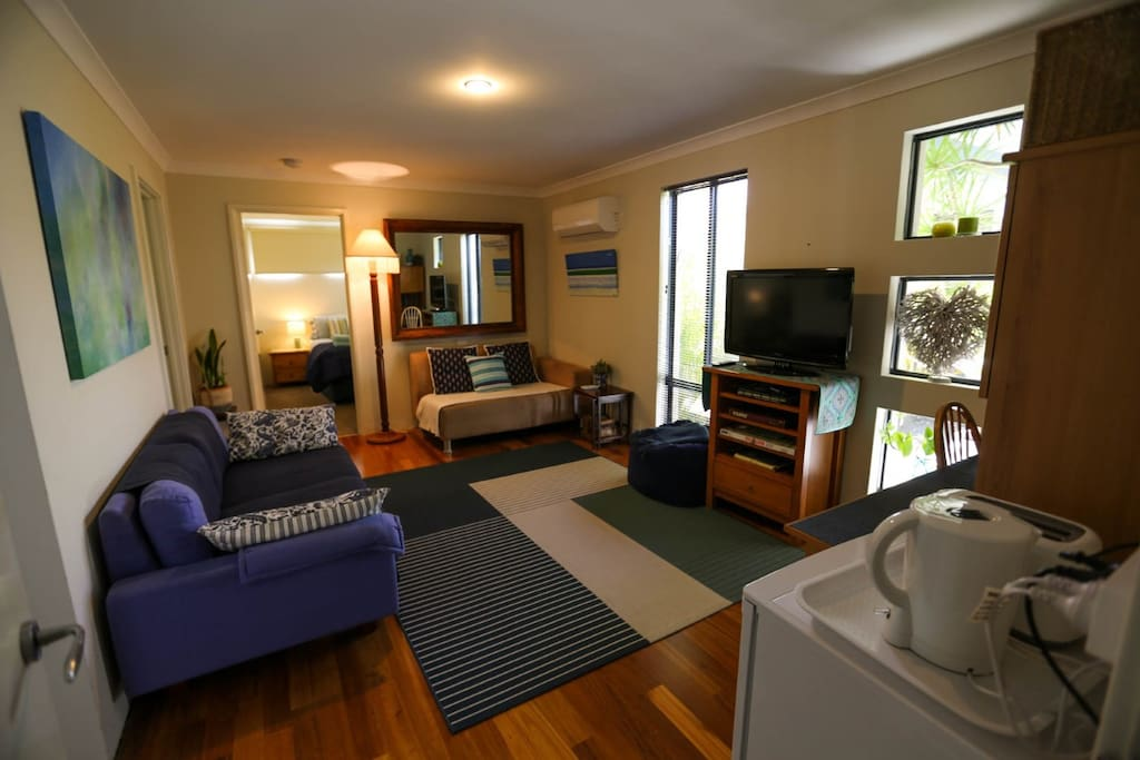 Airconditioned, Private Sitting Room with TV and Kitchenette