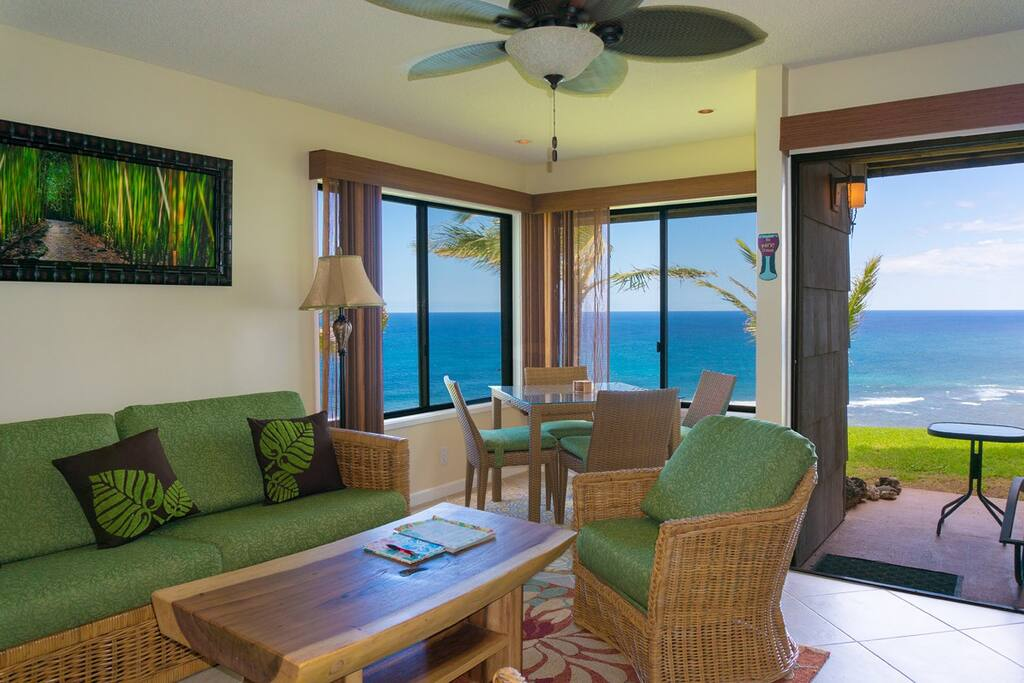 Oceanfront views from the living room of our Princeville condo Sealodge G4.