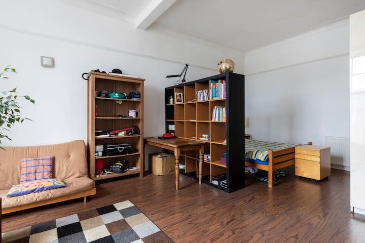 Massive bright room in a flat full of character