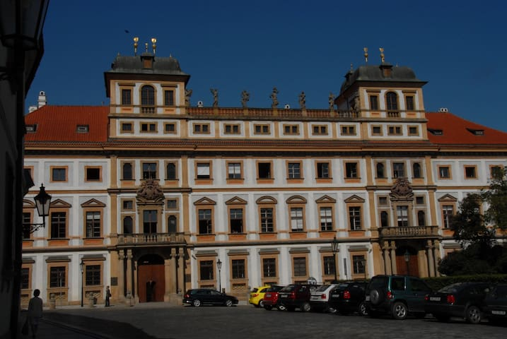 This former palace is half a street away toward the Castle. Other palaces next to it are now art museums.