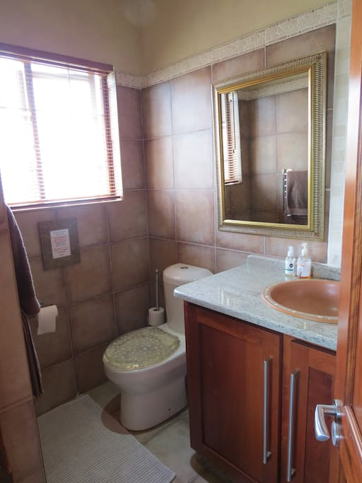 Bathroom with heated towel-rail.