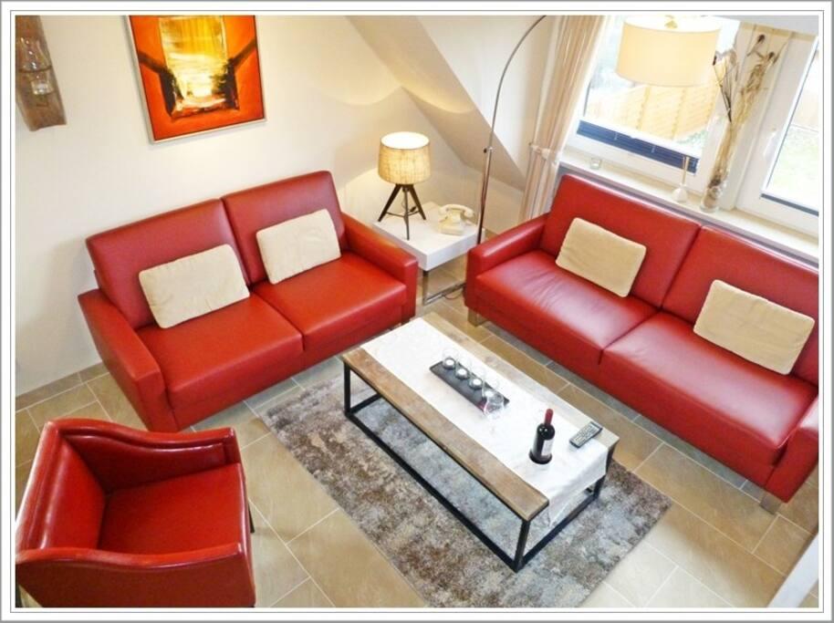 Wohnzimmer: 3-Sitzer, 2-Sitzer, Sessel