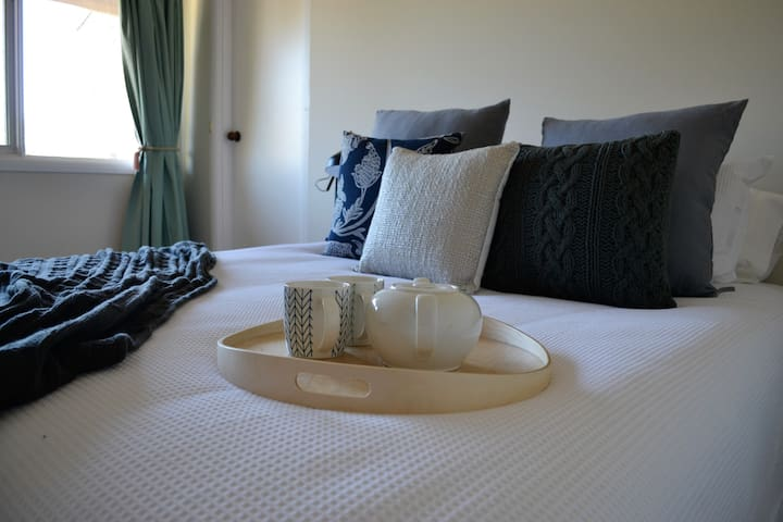 You can have your tea or coffee in the morning while still relaxing in the bedroom