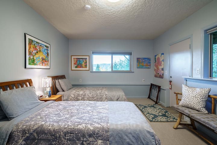 A second bedroom has Extra-Long twin beds, luxurious bedding, cross ventilation with twice the woodsy sounds at night, with bedside CPAP and phone charging facilities.  An auto-inflate mattress with linens makes comfortable sleep for a sixth guest!