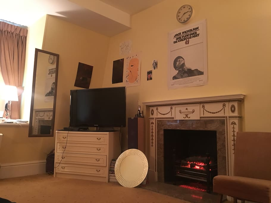 Bedroom fireplace and TV