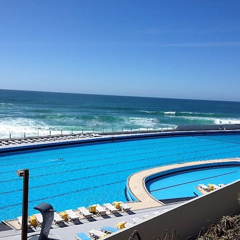 Huge outdoor saltwater swimming pool at Praia Grande beach