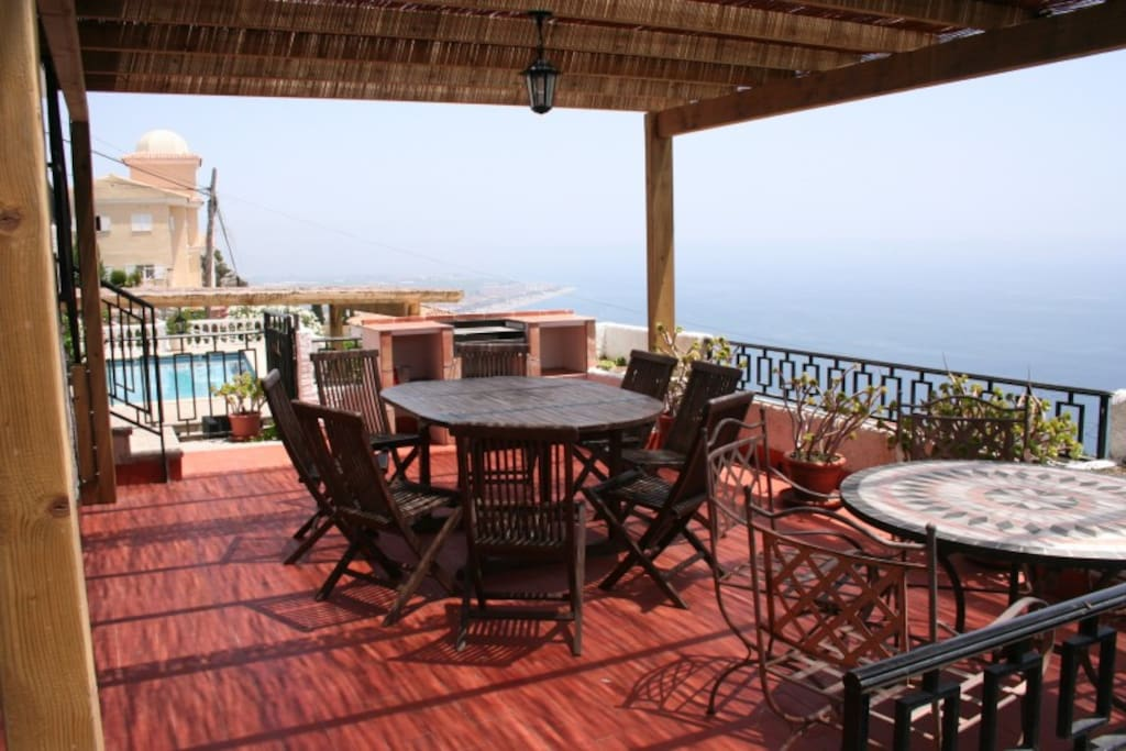 The BBQ terrace - enjoy your meal overlooking the ocean. At night the area is filled with the smell of jasmine.