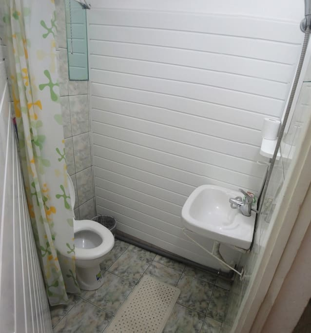 Private half bath (you can shower in the bathroom but there is no tub, only a drain)