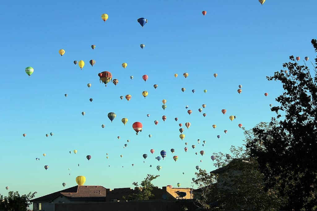 View of mass balloon ascension from the backyard