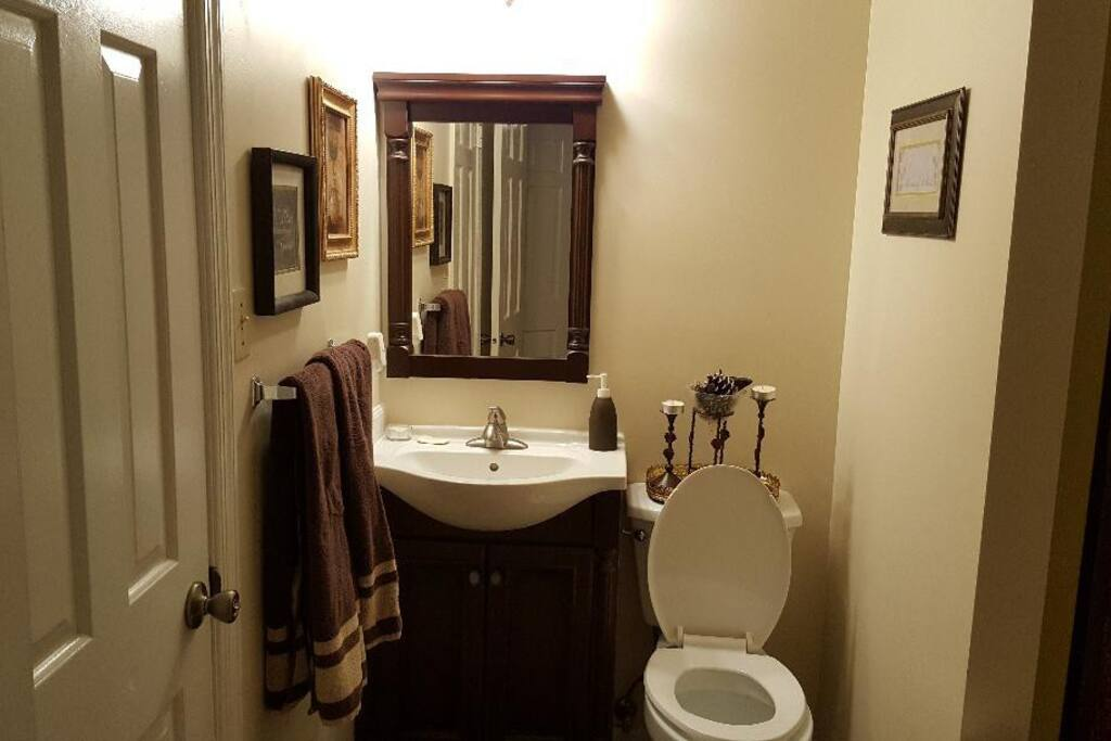Large bathroom with tub and shower