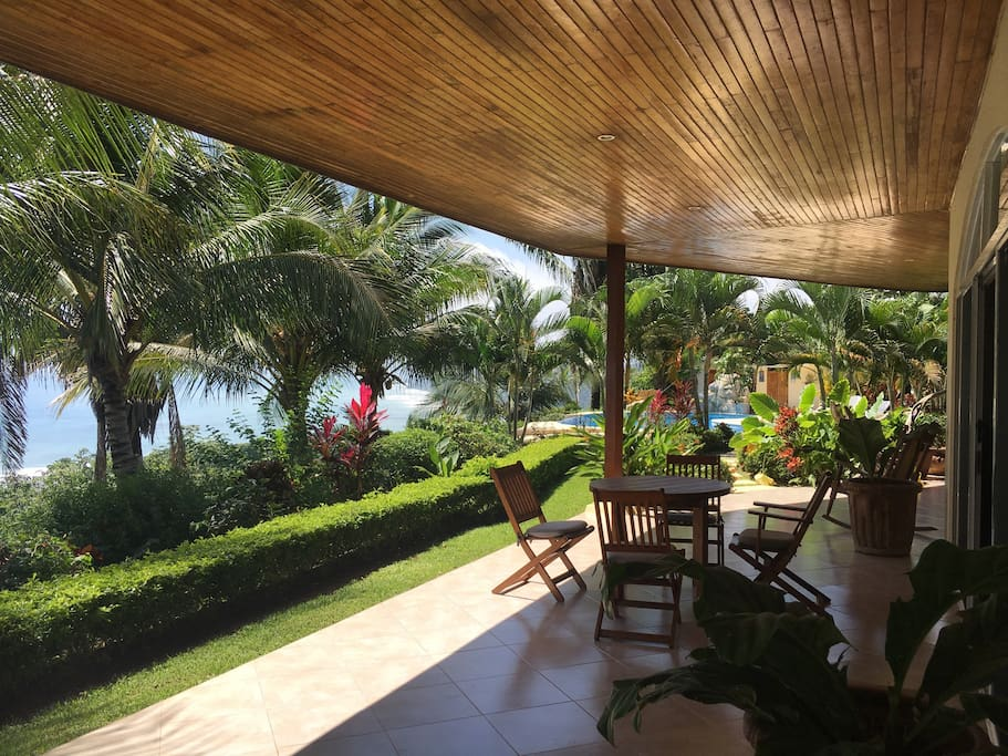 The generous outside patio area offers shade from the sun and quiet places to contemplate and relax