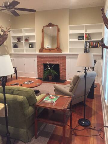 Living room with TV in cabinet