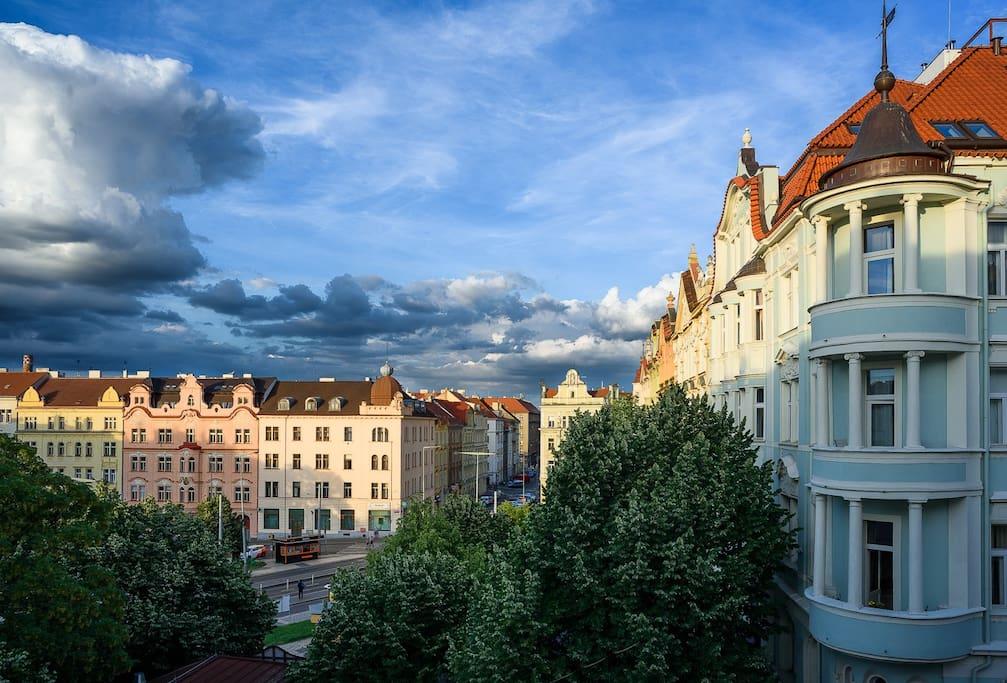 Náměstí Bratří Synků square:  view from our window