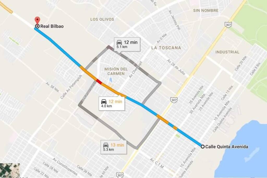 Distancia aproximada entre el fraccionamiento y la Quinta Avenida