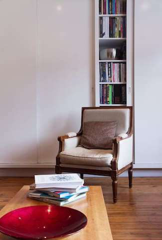 Living Room - armchair and library