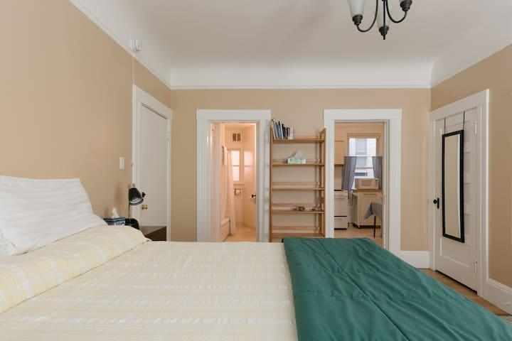 Main room showing premium comfort bed, nightstand, bookshelves, bathroom, kitchen  and closet doors