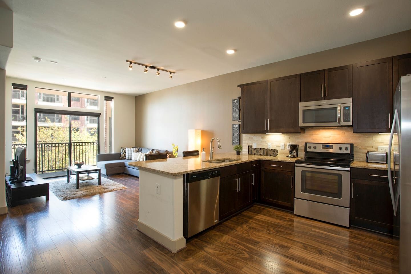 Spacious, super clean, fully stocked apartment makes for a relaxing and comforting stay.