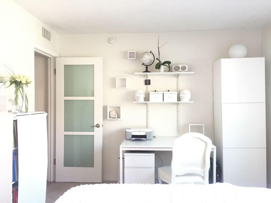 Desk space in your bedroom.