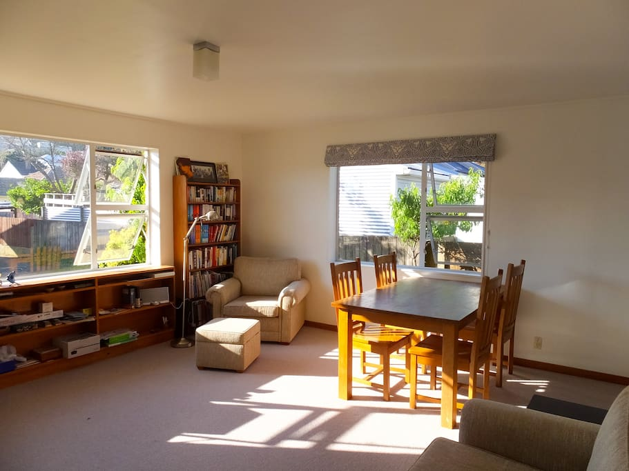 Living room gets the afternoon sunshine.