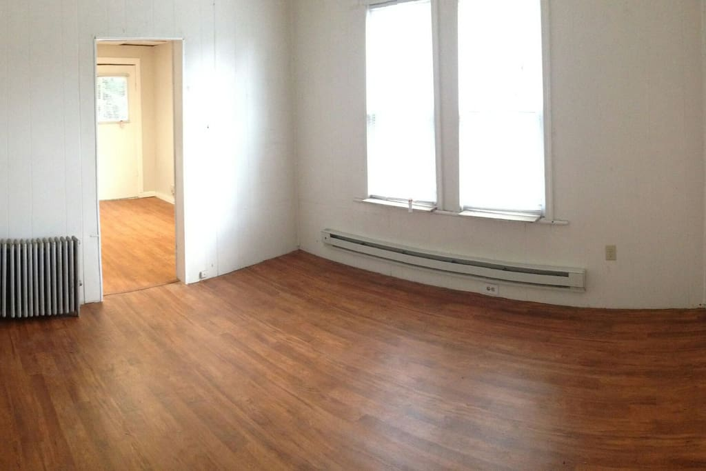 All new flooring.  Also, it's not shown in this pic, but there's hookups for a stackable washer/dryer here