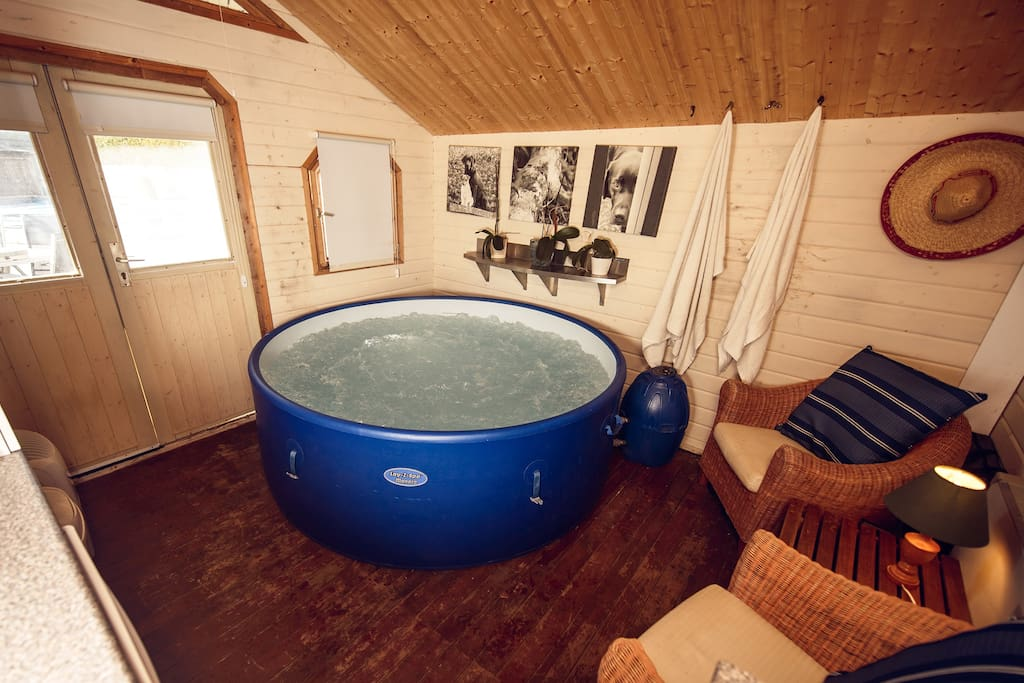 Private Spa / Hot tub, in heated building. Available by request.