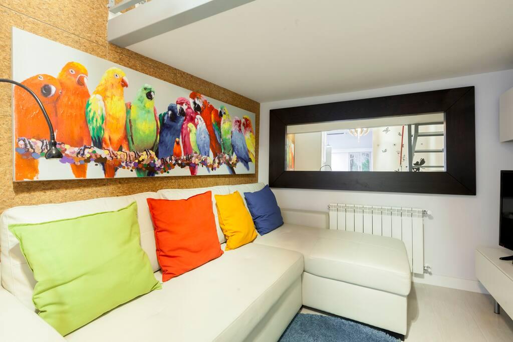 Salón con sofá-cama de 1,40x2 m
