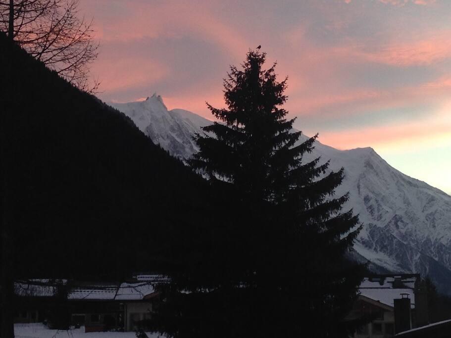 Night view Mont Blanc Aiguille du Midi