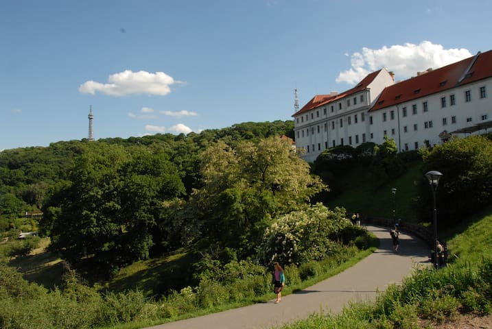 Two minutes from the flat and you enter Petrin park, with the Strahov Monastery on the right...about 1000 years old and has the best beer in the Czech Republic, brewed by the monks. Park itself has many attractions and restaurants, cafes, etc.