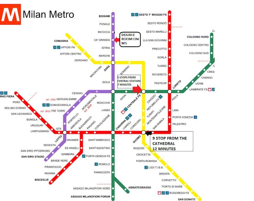 Mappa metro delle fermate tra l' abitazione, la stazione e il centro città