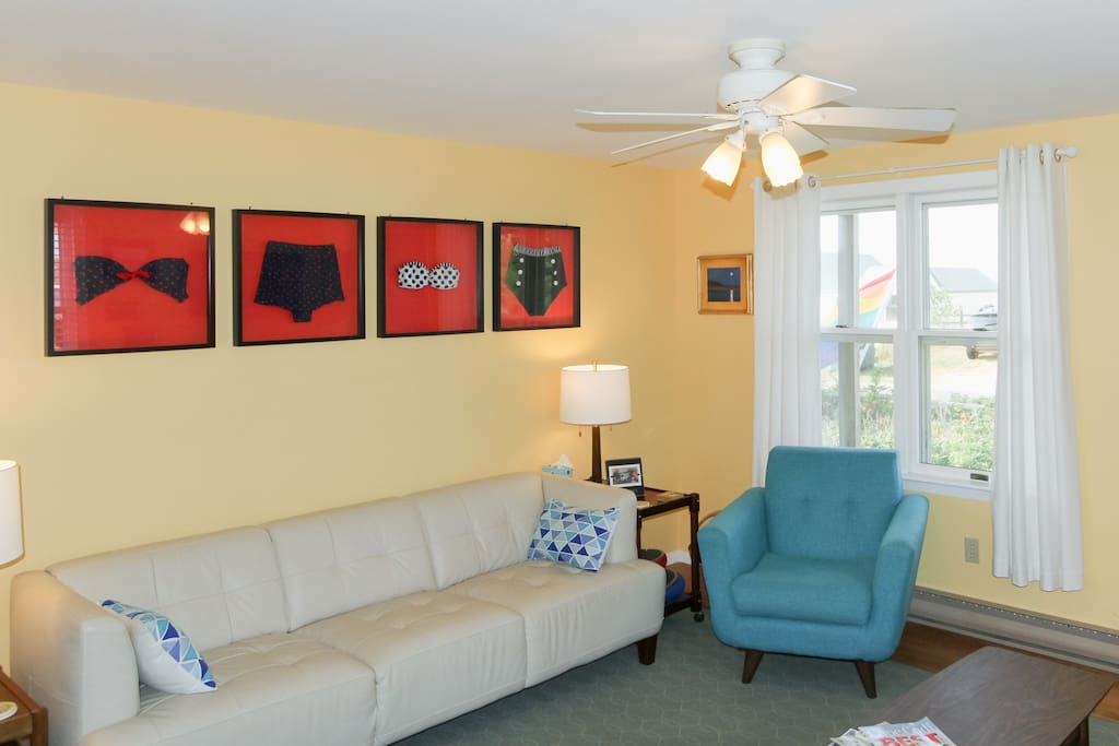 Artful décor and furnishings outfit the comfortable living room.