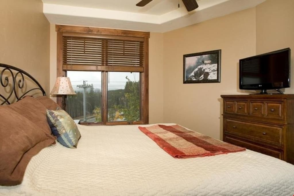 The bedroom features a comfortable queen bed and a TV