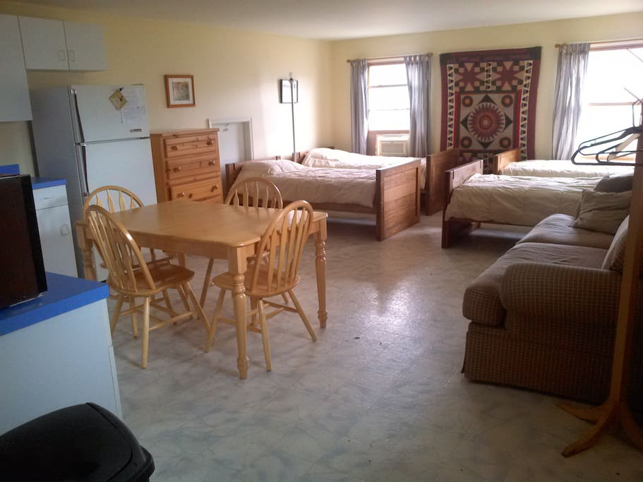 View of beds from kitchen
